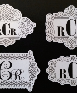 wedding monogram sticker, elegant monogram sticker